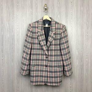 Vintage Plaid Pink Wool Blend Two Button Blazer